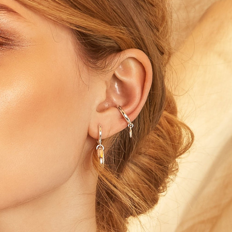 Shell Charm Drop Single Ear Cuff - Gold