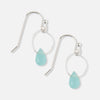 Pale Blue Tiny Hoop & Stone Drop Earrings