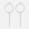 Medium Hoop Earrings With Long Bar Drop - Silver