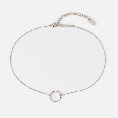Open Circle Chain Choker - Silver