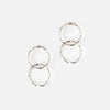Double Open Hoop Stud Earrings - Silver