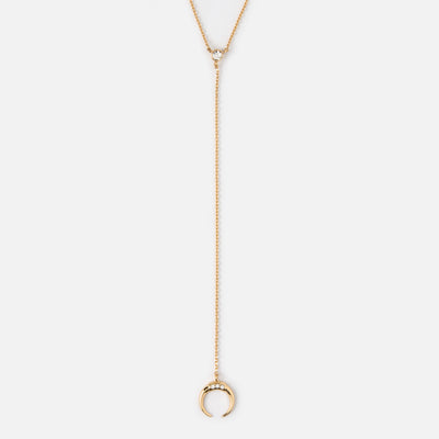 Crystal Double Tusk Lariat Necklace