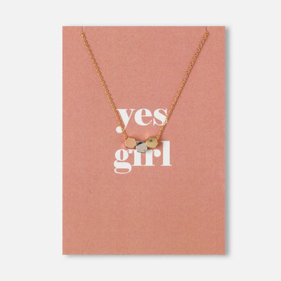 Yes Girl Hexagon Trio Charm Necklace