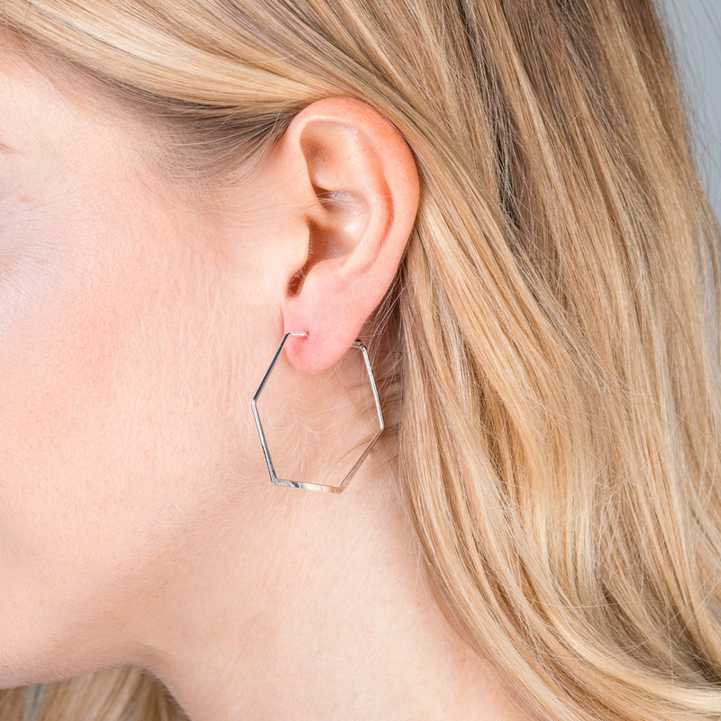 Hexagon Hoop Earrings - Silver