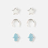 Pave Hamsa Stud Earrings - 3 Pack