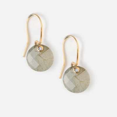 Faceted Labrodite Stone Drop Earrings