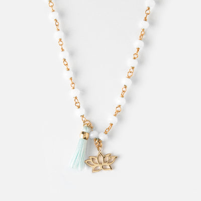 Beaded Lotus & Tassel Short Necklace