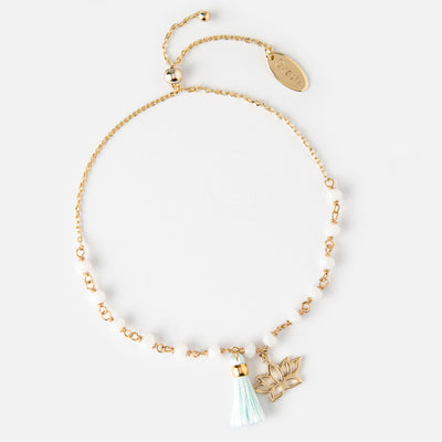 Beaded Lotus & Tassel Adjustable Bracelet