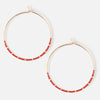 Seedbead Hoop Earrings - Red