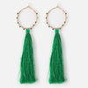 Beaded Hoop & Emerald Tassel Earrings