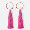 Beaded Hoop & Fuschia Tassel Earrings