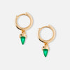 Metal Spike Hoop Earrings - Green