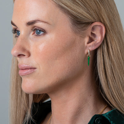 Crystal & Green Spike Earrings