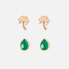 Palm Tree & Semi Precious Earring 2 Pack