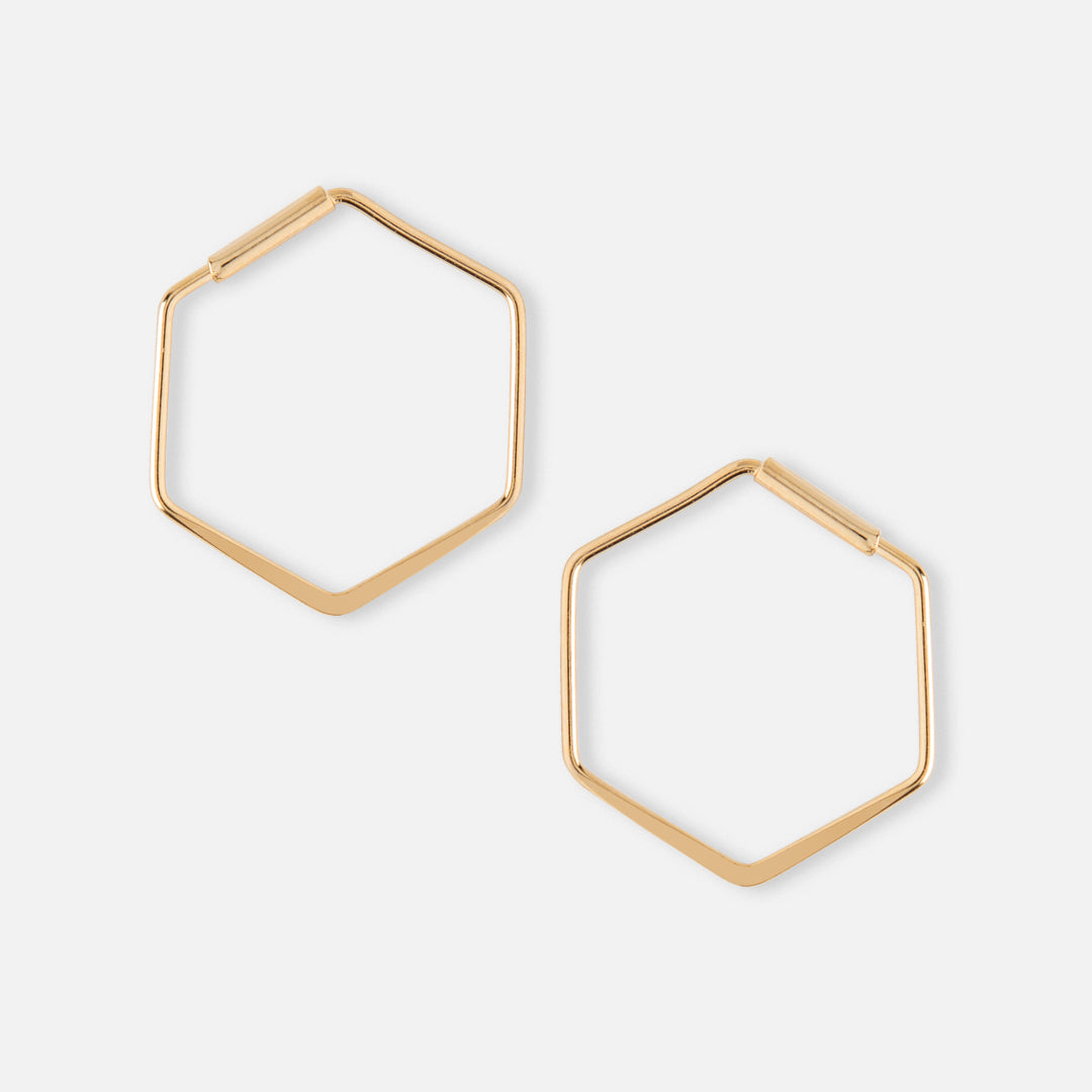 Small Hexagon Hoop Earrings - Gold