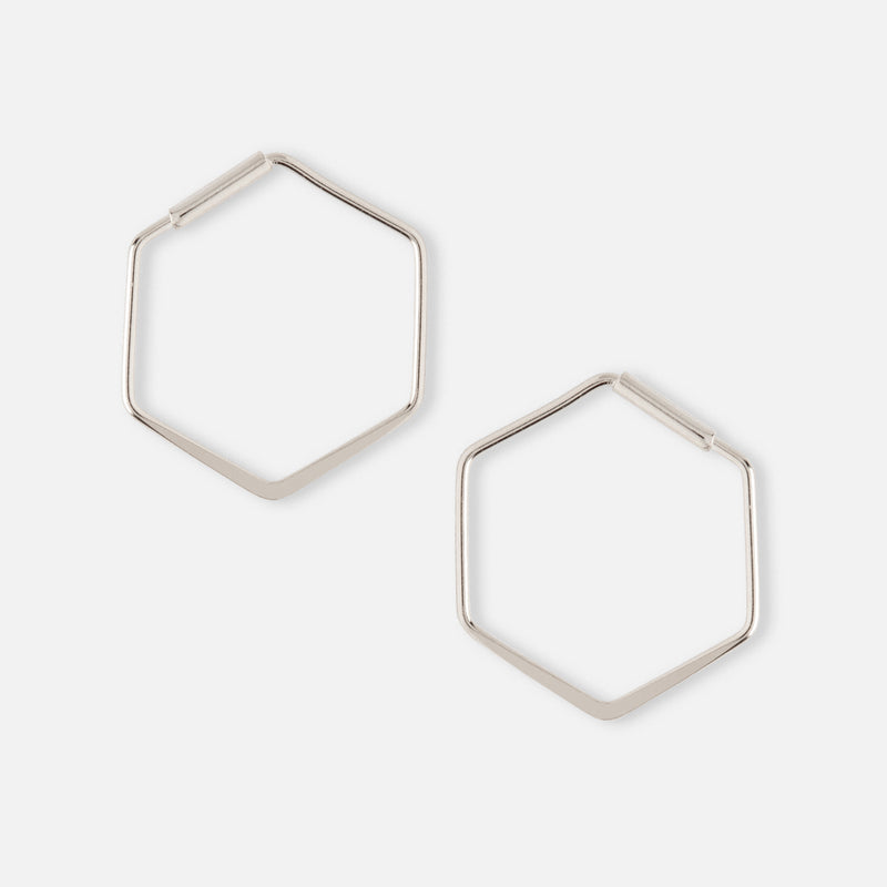 Small Hexagon Hoop Earring - Silver