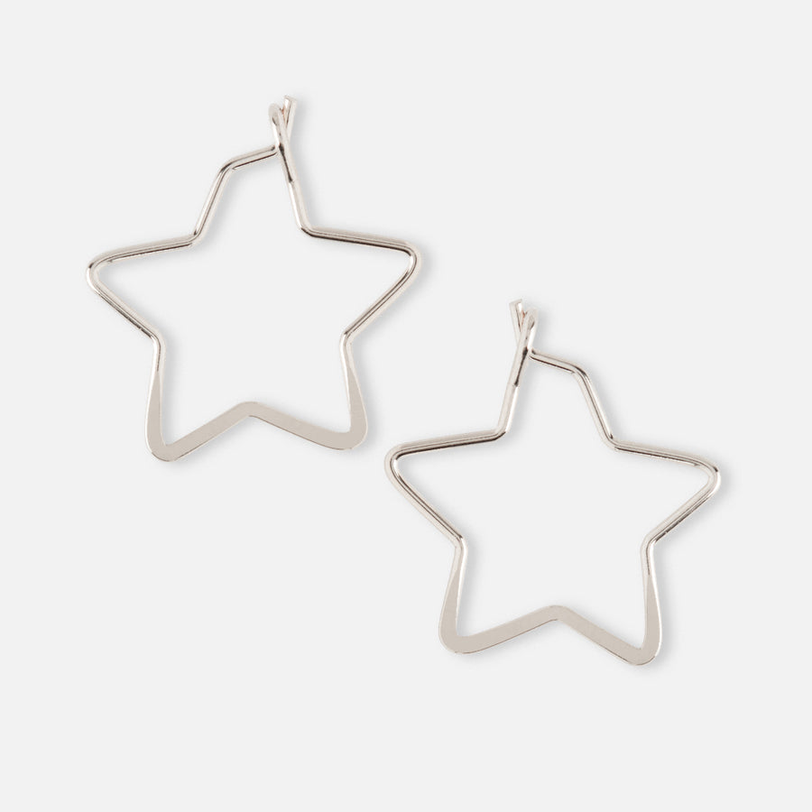 Small Star Hoop Earrings - Silver
