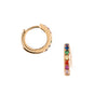 Rainbow Pave Huggie Hoop Earrings - Gold