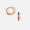 Rainbow Pave Huggie Hoop Earrings - Rose Gold