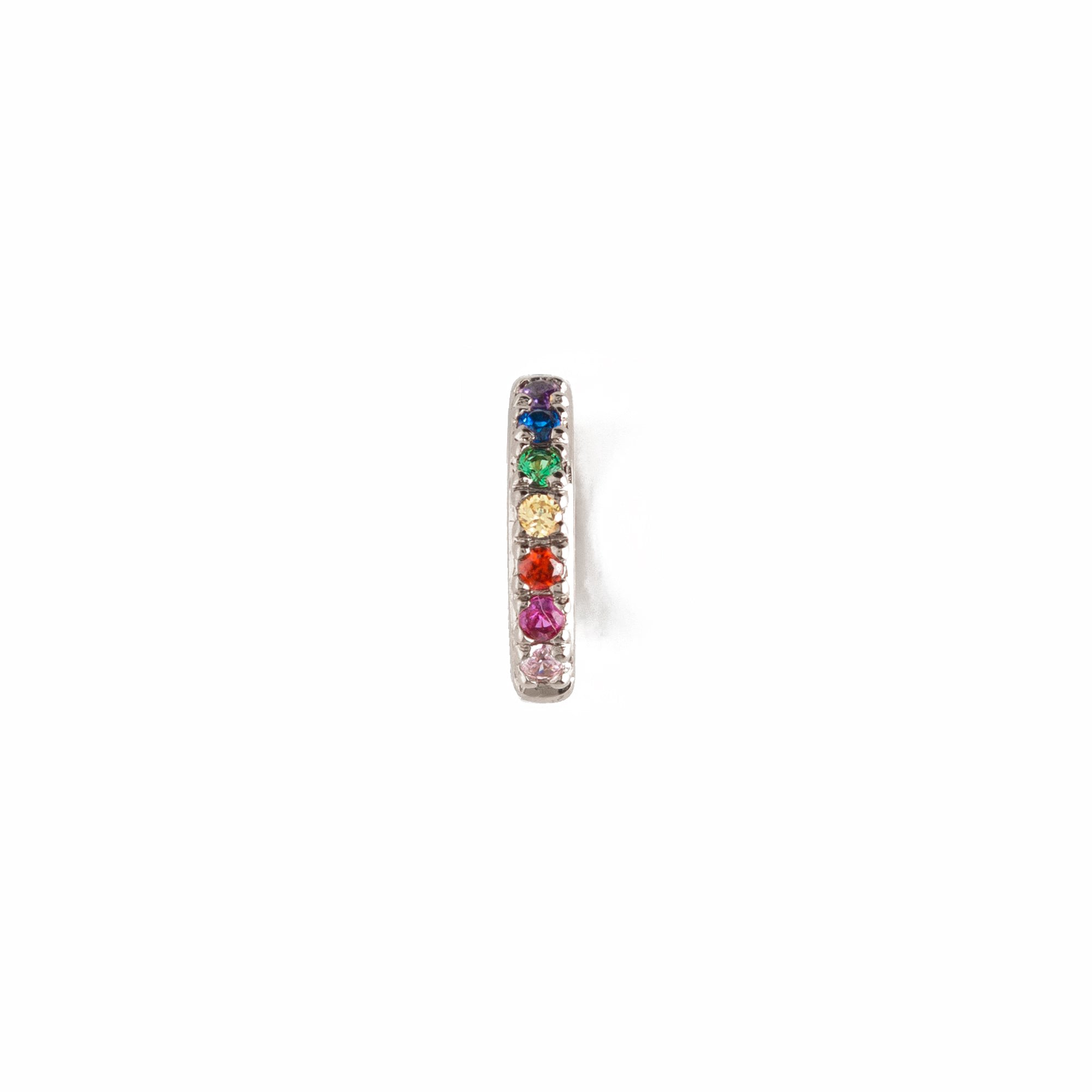 Single Rainbow Pave Huggie Hoop - Silver