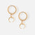 Mini Hoop Earrings with Crescent Drop - Gold