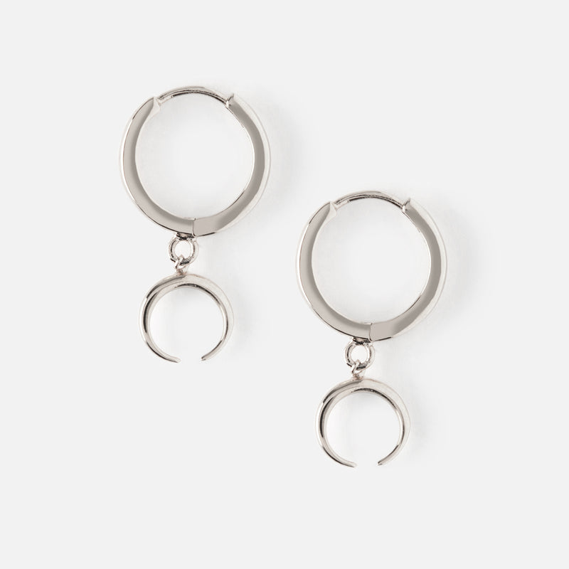 Mini Hoop Earrings with Crescent Drop - Silver