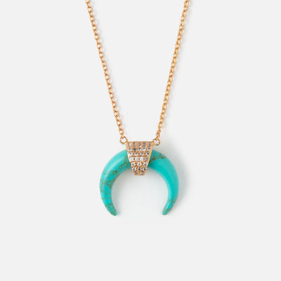 LUXE Horn Necklace - Turquoise