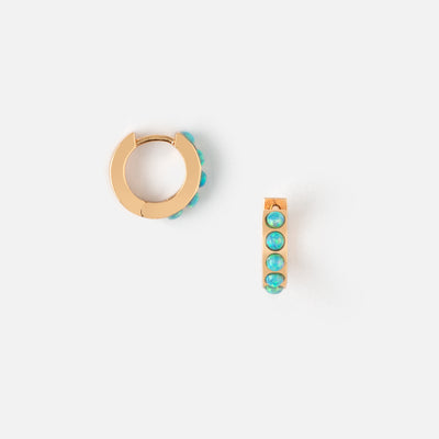 LUXE Blue Opal Huggie Hoop Earrings