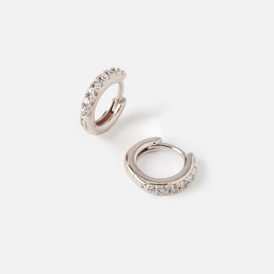 LUXE Pave Stone Huggie Hoop Earrings - Silver