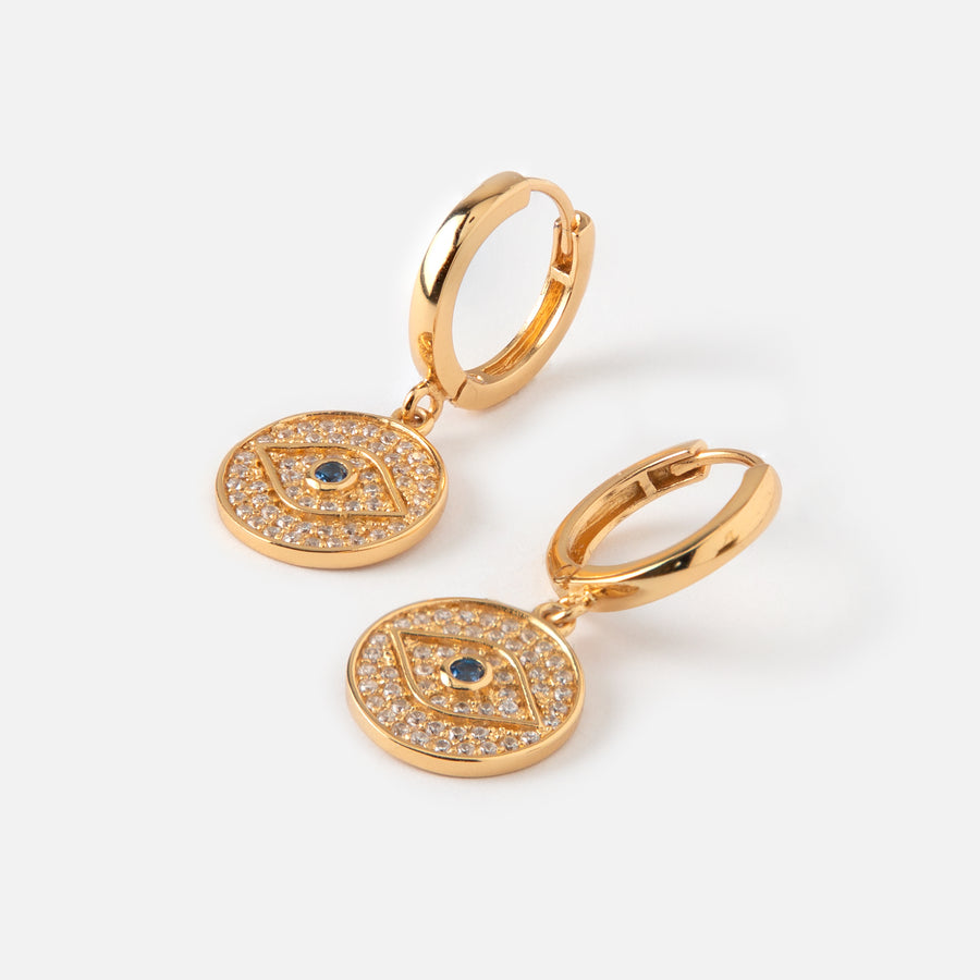 LUXE Pavé Evil Eye Hoop Earrings