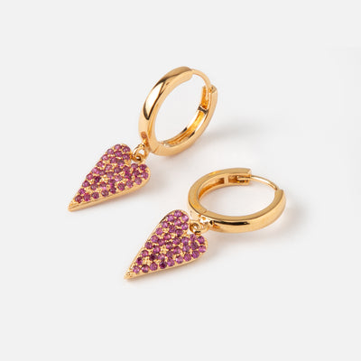LUXE Pavé Heart Hoop Earrings