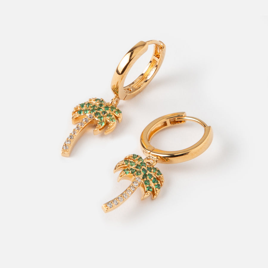 LUXE Pavé Palm Tree Hoop Earrings