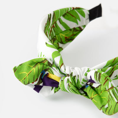 White Tropical Print Turban Headband