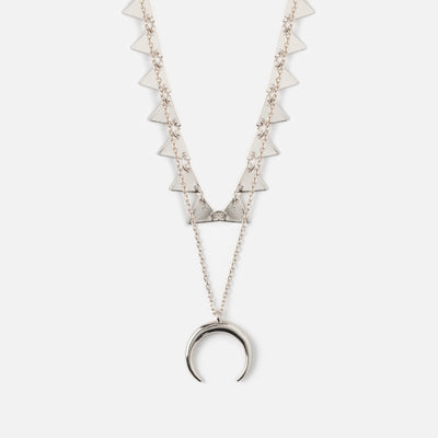 Mini Triangle & Horn Necklace - Silver
