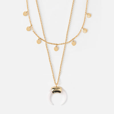 Mini Coin & Horn Necklace - Rose Quartz