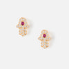 Crystal Hamsa Stud Earrings