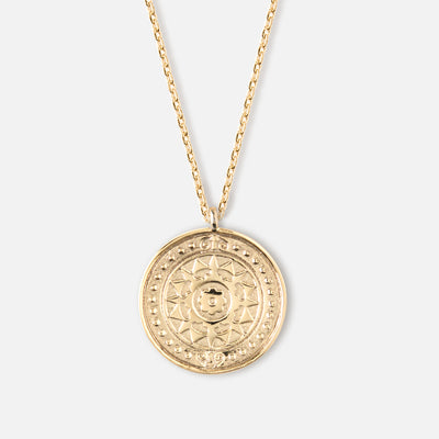 Engraved Coin Pendant Necklace - Gold