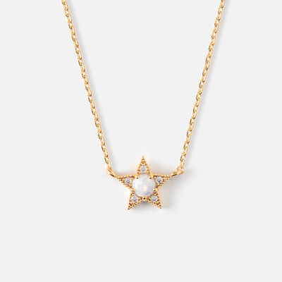 Crystal & Opal Star Charm Ditsy Necklace