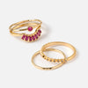 Crystal Stacker Ring Pack - Fuschia