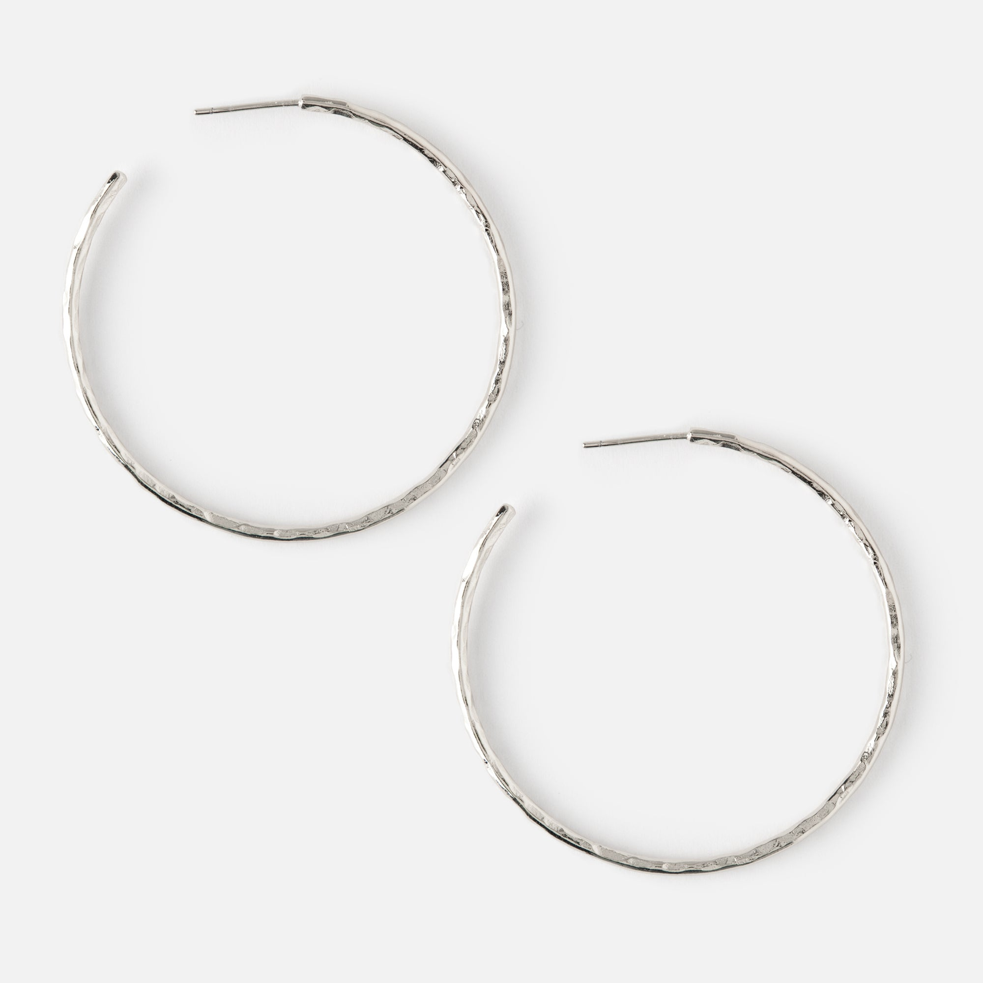 Hammered Hoop Earrings - Silver