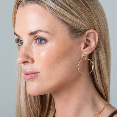 Gold Statement Crescent Earrings