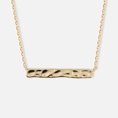 Horizontal Hammered Bar Necklace - Gold