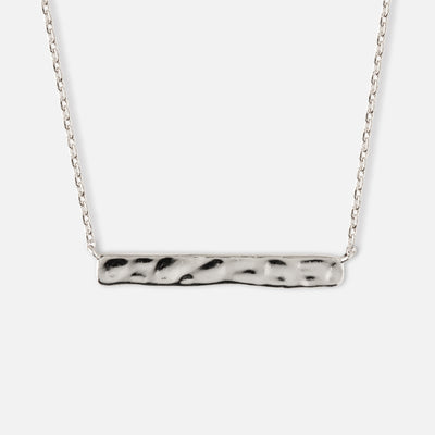 Horizontal Hammered Bar Necklace - Silver
