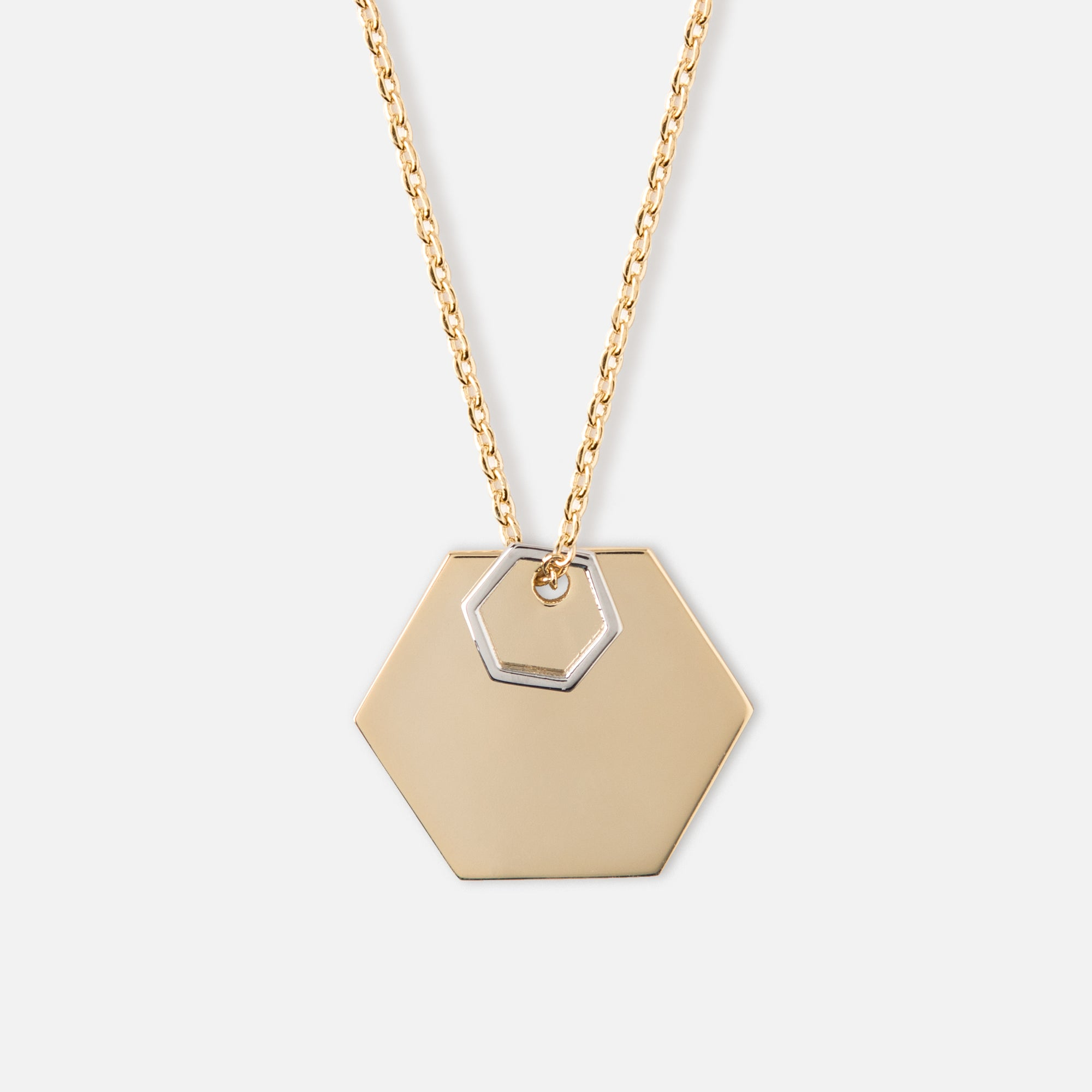 Double Hexagon Disc Necklace