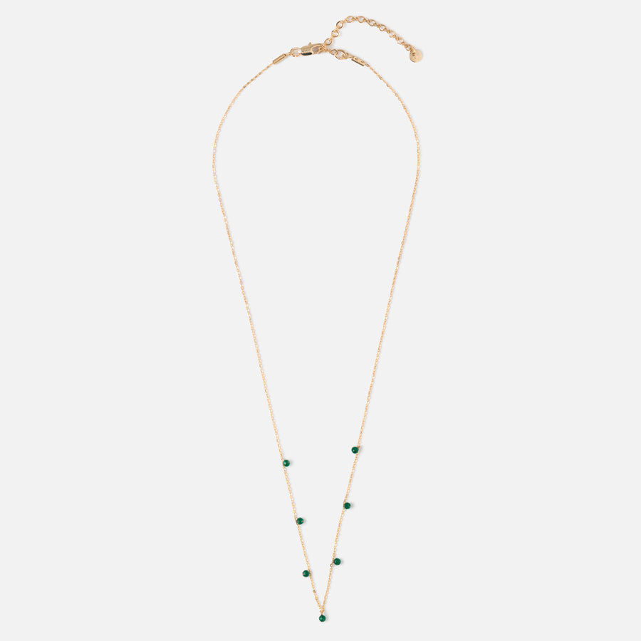Semi Precious Fine Emerald Drop Necklace