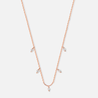 Crystal Multi Drop Necklace - Rose Gold
