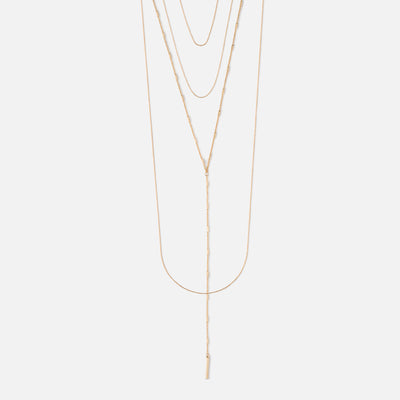 Mixed Chain Layered Lariat Necklace