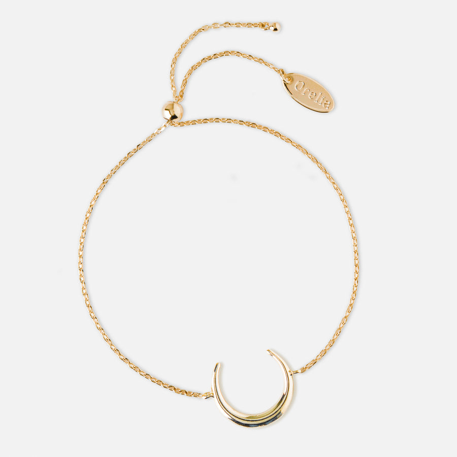 Crescent Slider Chain Bracelet - Gold