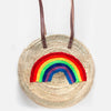 Large Round Straw Rainbow Tote Bag