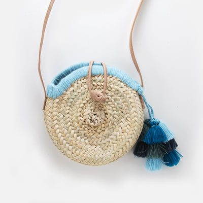 Round Straw Cross Body Tassel Bag - Blue